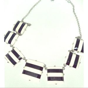 VTG Black & White Stripe Square Statement Necklace